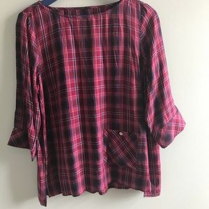 J. Jill boatneck plaid blouse